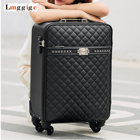 "New Women'S High-Quality Pu Leather Rolling Luggage Box Universal Wheel Suitcase Bag 16""20""24"" Inch"