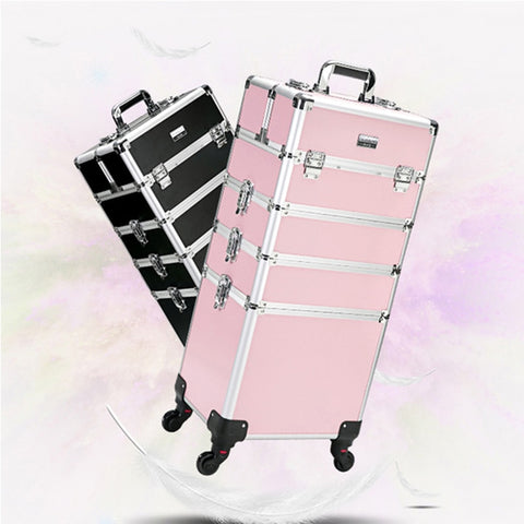 Women Large Capacity Trolley Cosmetic Case Rolling Luggage Bag,Nails Makeup Toolbox,Multi-Layer