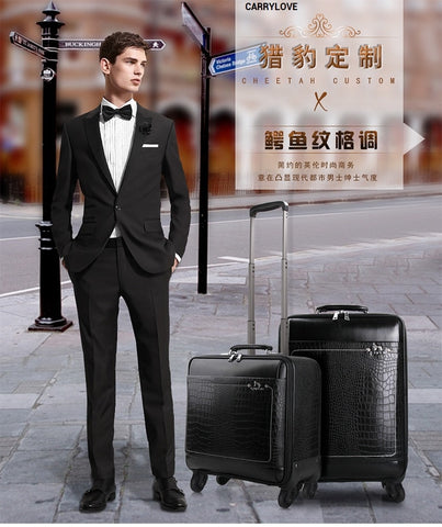 Carrylove Business Men Travel Essential 16/18/20/22 Inch Pu Rolling Luggage Spinner Brand Travel