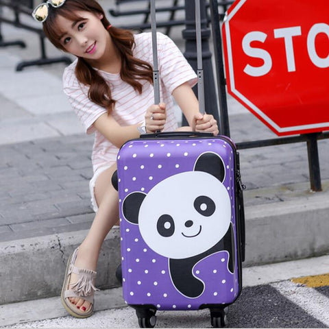 "Cute Panda Travel Suitcase,Abs+Pc Carry-Ons Trolley Case, 24""Rolling Luggage,20""Inch Boarding"