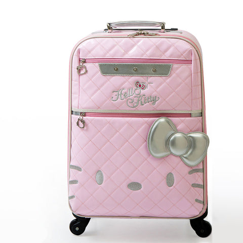 Retro Pu Leather Trave Luggage Bags On Universal Wheels,High Quality Female Hello Kitty Fashion