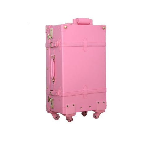 Vintage Universal Wheels Trolley Luggage,Retro Korea Fashion Pu Leather Trolley Luggage,12 20 22