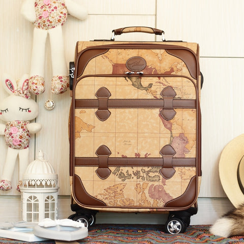 Wholesale!Korea Fashion Style 20 24 Pu Leather Universal Wheels Map Trolley Luggage,Female Retro