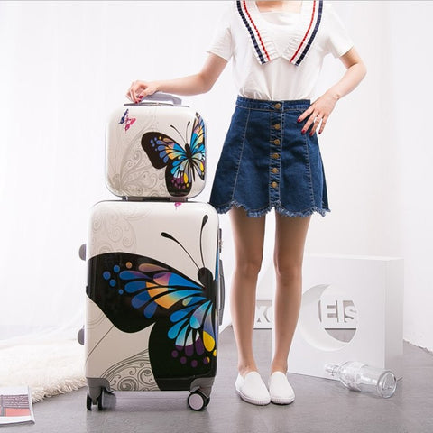 New Arrival!Women 12 20 24Inches Butterfly Pc Hardside Case Travel Luggage Set On Universal
