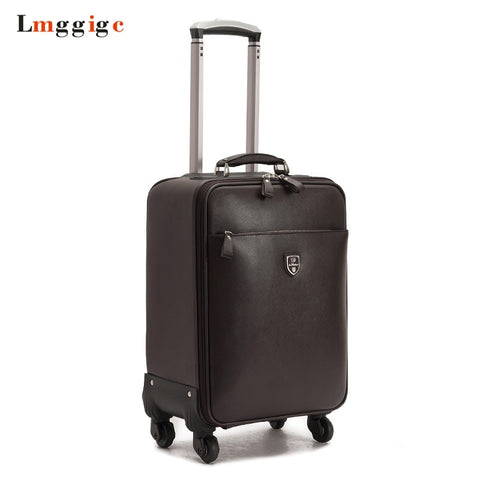 Pu Leather Suitcase,Men Rolling Luggage Bag,High Quality Travel Box,Whell Trolley ,Carry-On Case