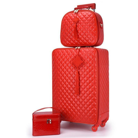 Red Suitcase Wedding Trolley Case Woman Luggage Bride Dowry Box Classic Travel Suitcase Set Spinner