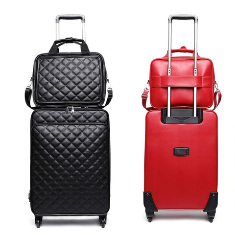 Retro Pu Rolling Luggage Set Spinner Women Trolley Case/Bag 24 Inch Travel Suitcase Set Wheels