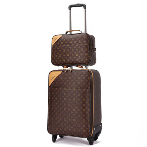 Rolling Luggage Set Travel Suitcase Set With Handbag,Wheels Carry-On,Pvc Leather Spinner Women