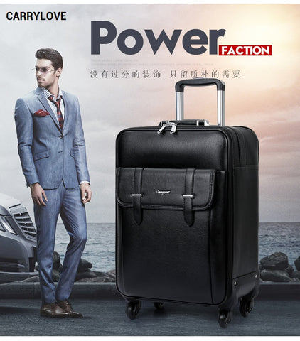 Carrylove 2018 Business Luggage 16/20/24 Size High-Quality Pu Rolling Luggage Spinner Brand