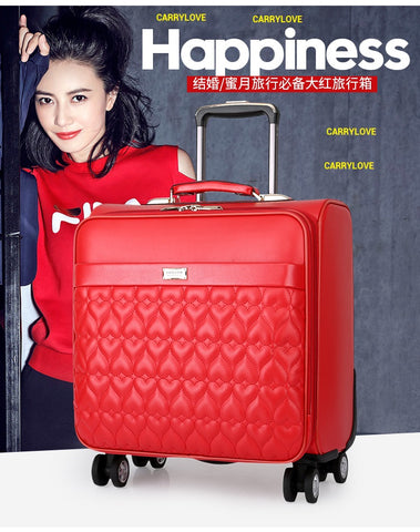 Carrylove Fashion Luggage 16/20/24 Size High-Quality Red Pu Rolling Luggage Spinner Brand Travel