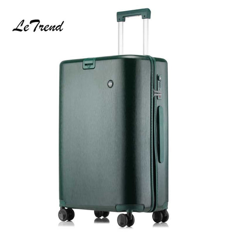 Letrend Stylish Cylindrical Rolling Luggage Spinner Women Suitcases Wheels Cabin Trolley Travel Bag