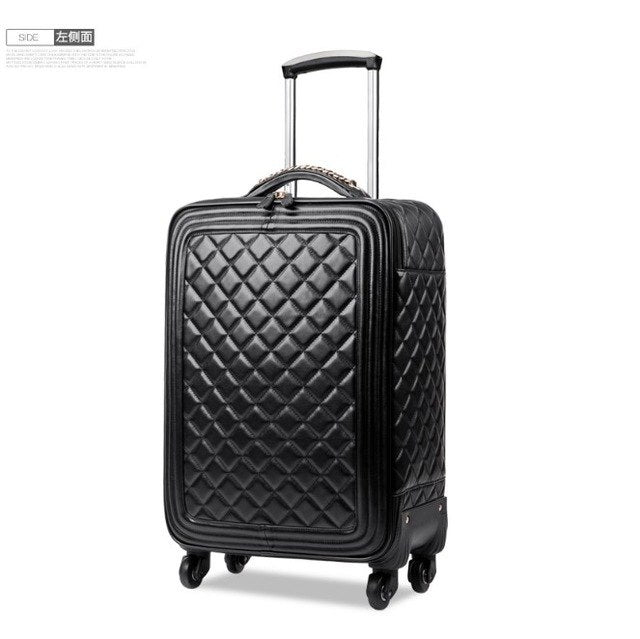 "16""20""24Inch On Travel Suitcase,Pu Leather Vintage Rolling Luggage,Women'S Trolley,Universal"