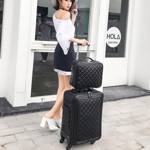 Luggage Sets,16/20/24 Inch Lady Carry-On Trolley Case,High-Quality Leather Suitcase,Retro
