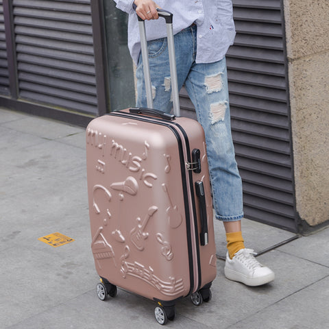 Wholesale!24Inches Fashion Music Printed Hardside Travel Luggage On Universal Wheels For Men And