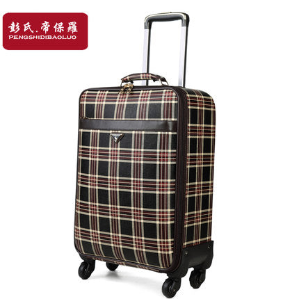 Plaid Trolley Luggage Female Universal Wheels Travel Bag Soft Box Commercial Luggage Leather Bags