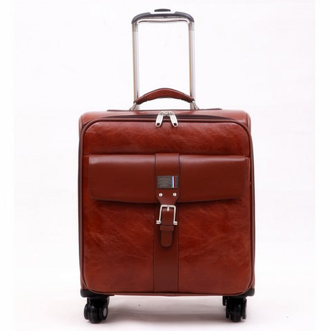 Commercial Trolley Luggage Male Universal Wheels 16 Vintage Luggage Bag Female Pu Leather The