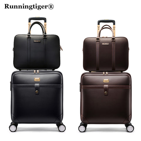 Rolling Luggage Set,High Quality Pu Leather Travel Suitcase Bag With Handbag,Wheels