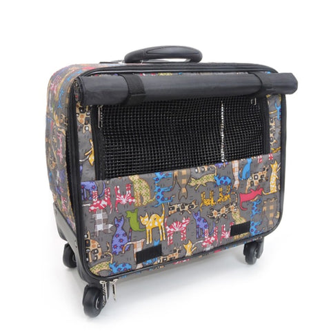 Pets Carry-On Trolley Case,Small Animal Universal Wheel Luggage,Cat And Dog Outdoor Rolling
