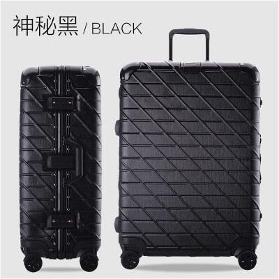 "Aluminum Frame Travel Luggage 20""24""29"" Travel Suitcase Woman Suitcase Metal Wrap Angle Drawing"