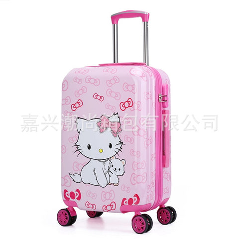 20Inch Cute Hello Kitty Girls'Luggage Children'S Rod Box  Kids Travel  Luggage Suitcase Bag With