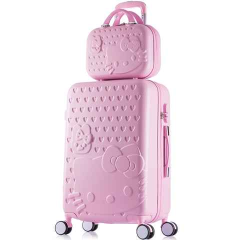 14 26Inches Abs+Pc Hardscase Hello Kitty Travel Luggage Sets On Universal Wheels,Girl Pink Mint
