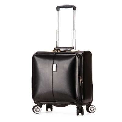 "16"" Inch High Quality Pu Leather Rolling Travel Luggage Suitcase Bag,Wheel Trolley Case ,Women Drag"