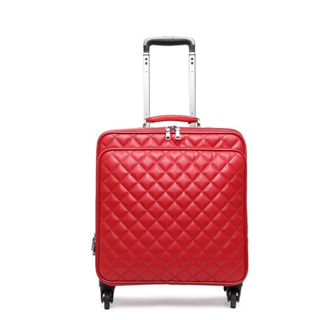 Retro Rolling Luggage Set Spinner Women Trolley Case 24Inch Travel Suitcase Set Wheels 20 Inch Pu
