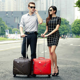 Commercial 16 Universal Wheels Trolley Luggage Married Small Leather The Box,Red/Brown/Black