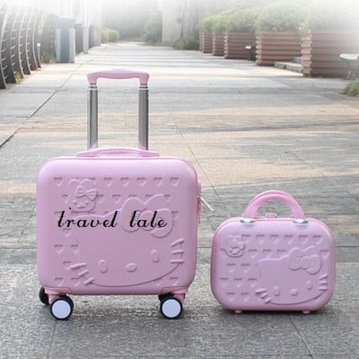 Kt Lovely, 14 Inch Size Handbag+16 Inch Rolling Luggage Spinner Brand Travel Suitcase   Suitable