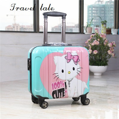Travel Tale  Super Light The Pc Cartoon Fashion 18 Inch Sizes Rolling Luggage Spinner Brand