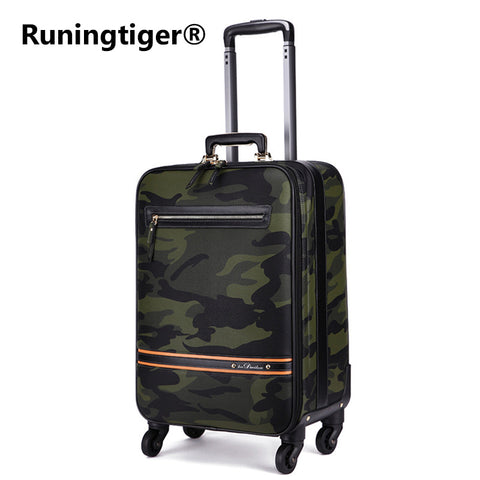 New Rolling Luggage Bag,Camo Pu Leather Travel Suitcase,Commercial Trolley Case,Fashion Wheels