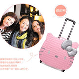 Hotsale!18Inches Pink Pu Hello Kitty Children Trolley Luggage,High Quality Cartoon Animation Lovely
