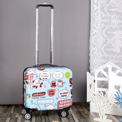Carry On Luggage 18 Inch Spinner Cartoon Unisex Kids Luggage Wearproof Suitcases And Travel Bags