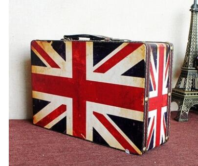 40.5*30.5*13.5Cm British Rod Rolling Luggage Suitcase Antique Wooden Box Spinner Decoration