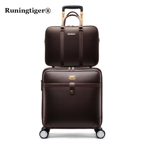 Retro Rolling Luggage Set Spinner Women Trolley Case 24Inch Travel Suitcase Set Wheels 20Inch Pvc