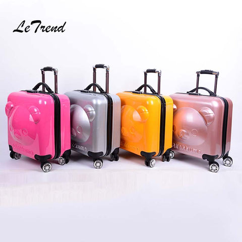 Letrend 18 Inch 3D Cartoon Bear Rolling Luggage Spinner Children Suitcases Wheels Kids Cabin