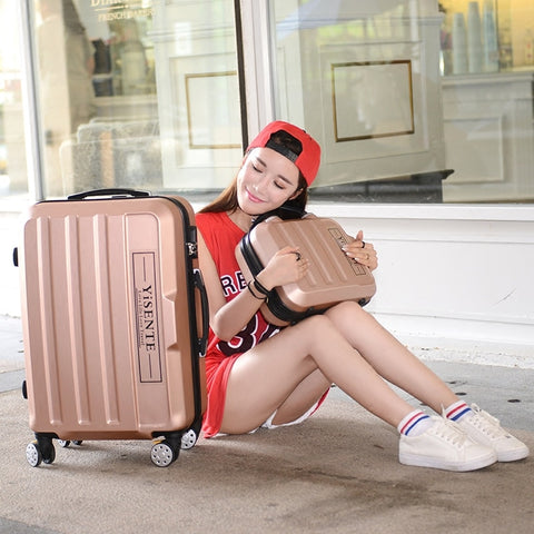 Wholesale!14 24Inches Abs Hardside Case Travel Luggage Sets On Universal Wheels,Male And Female
