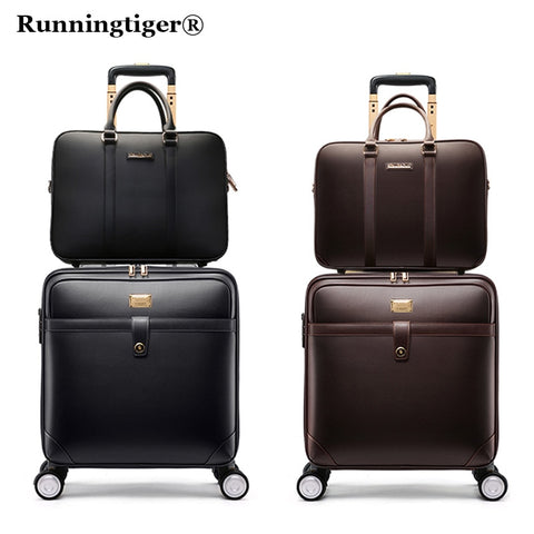 "16""20""24""Luxury Luggage Suitcase Bag,Waterproof Pu Leather Travel Box With Wheel ,Rolling Trolley"