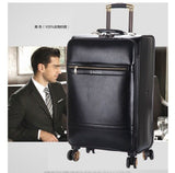 "Men'S And Women'S Travel Luggage Waterproof Pu Suitcase 16"" 20"" 24"" Leather Travel Case Pulley Cart"