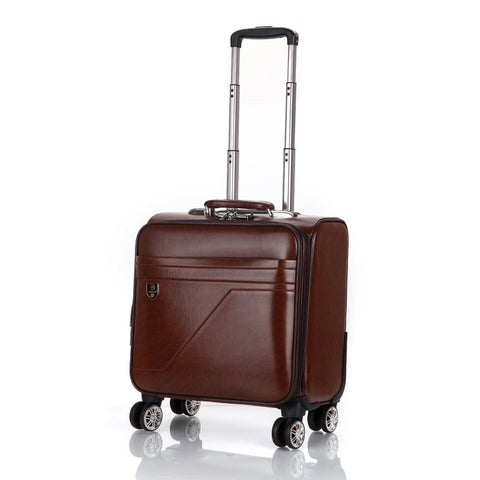 Men'S And Women'S Travel Luggage Waterproof Pu Luxury Suitcase 18Inch Leather Travel Case Pulley