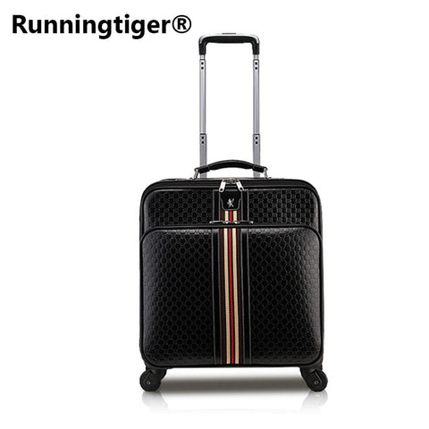 Rolling Luggage,Women Bag With Wheel,Pu Leather Commercial Suitcase,Men Soft Shell Travel Box