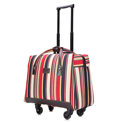 Overlooks Stripe Oxford Fabric Portable Trolley Travel Bag Computer Bag Luggage,Women 18Inches