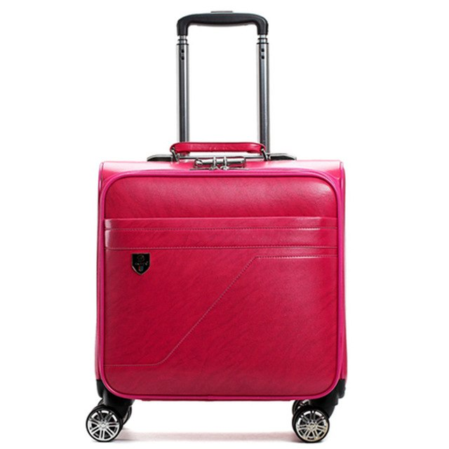 Fashion Trolley Case,Business Boarding Box,Universal Wheel 16 Inch Luggage Bag,Pu Valise,Silent