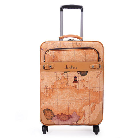 Wholesale!High Quality Yellow Pu Leather Vintage Trolley Luggage On Universal Wheels,16 18 20 22