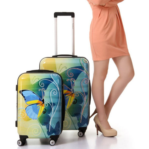 "20""24""28 Inches Universal Wheel Case Bag ,Fashion Abs Butterfly Travel Suitcase Spinner Wheels"