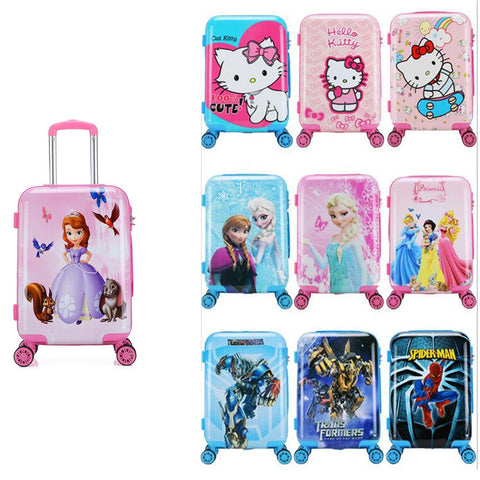 New 20 Inch Cartoon Children Rolling Luggage Kid Suitcase Boy Girl Princess Abs Trolley Case