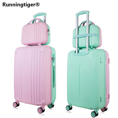 "Rolling Luggage Spinner Wheels 14+24"" Suitcase Trolley Men Abs+Pc Travel Bag Trunk Student Password"