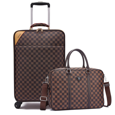 Rolling Luggage Set Travel Suitcase Bag With Handbag,Wheels Carry-On,Pvc Leather Spinner Women