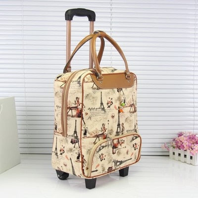Unisex Carry On Travel Suitcase Women Laptop Luggage Stripe Pattern Small Box Multicolor