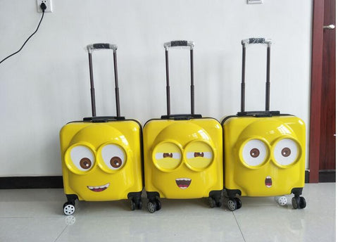 New Cartoon  Fashion Minions Luggage Cute Big Eyes Children'S Rolling Luggage Spinner Brand